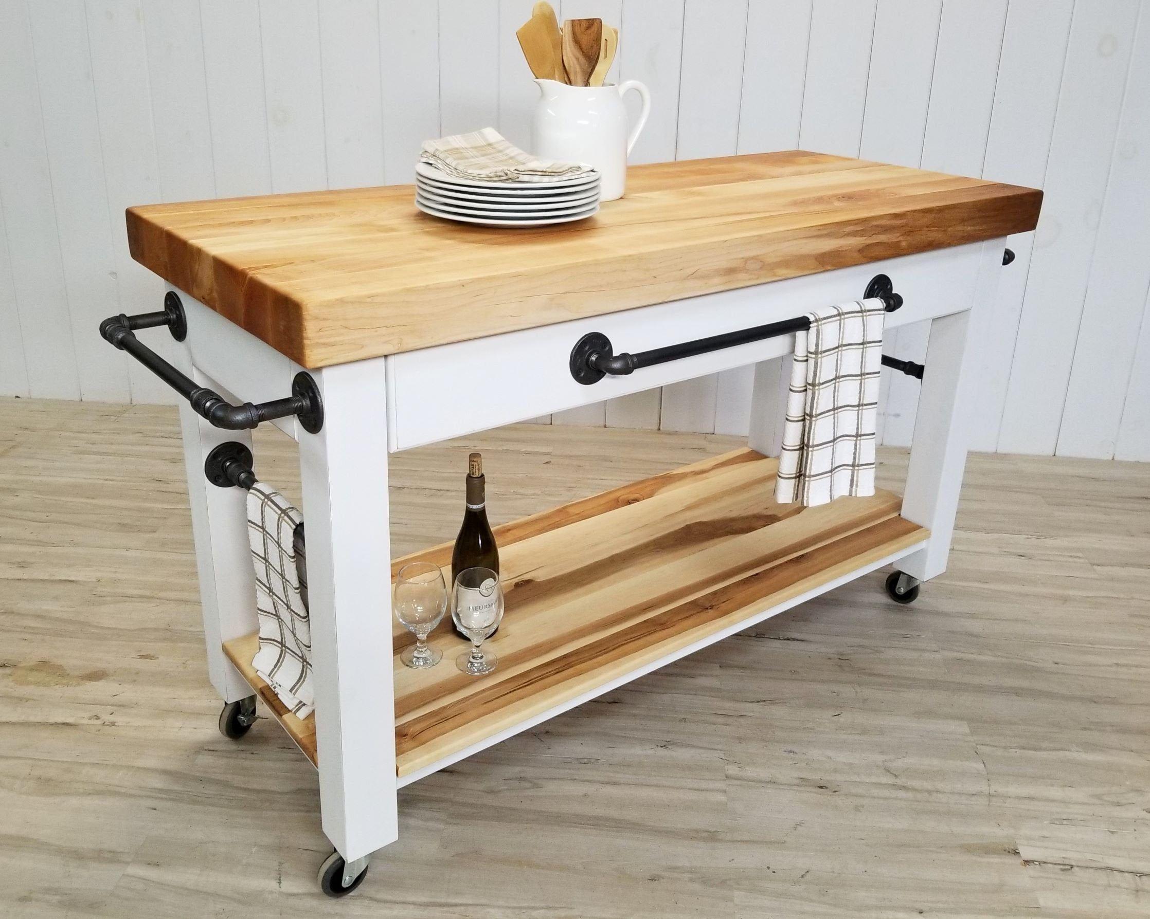 Maple Butcher Block Island Cart Rolling Kitchen Prep Counter