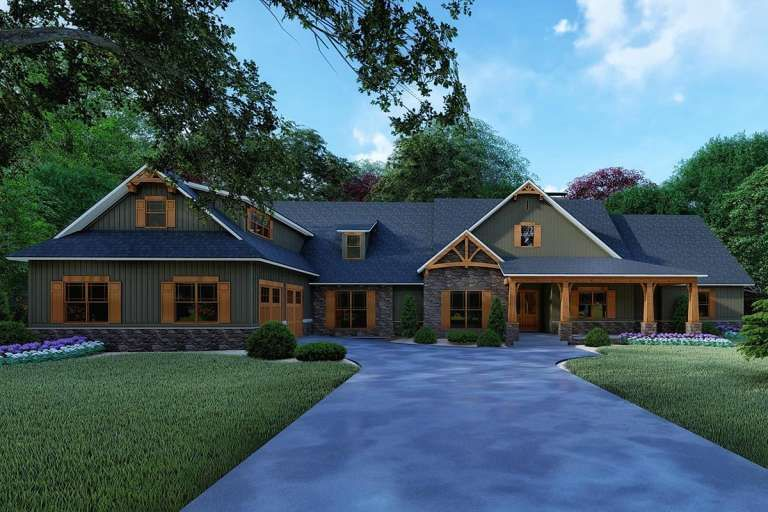 House Plan 8318 00123 Country Plan 5 098 Square Feet 4 Bedrooms 4 5 Bathrooms In 2021 Craftsman House Plan Craftsman House Craftsman Style House Plans