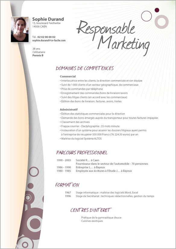 mod u00e8le cv responsable marketing learn more about video