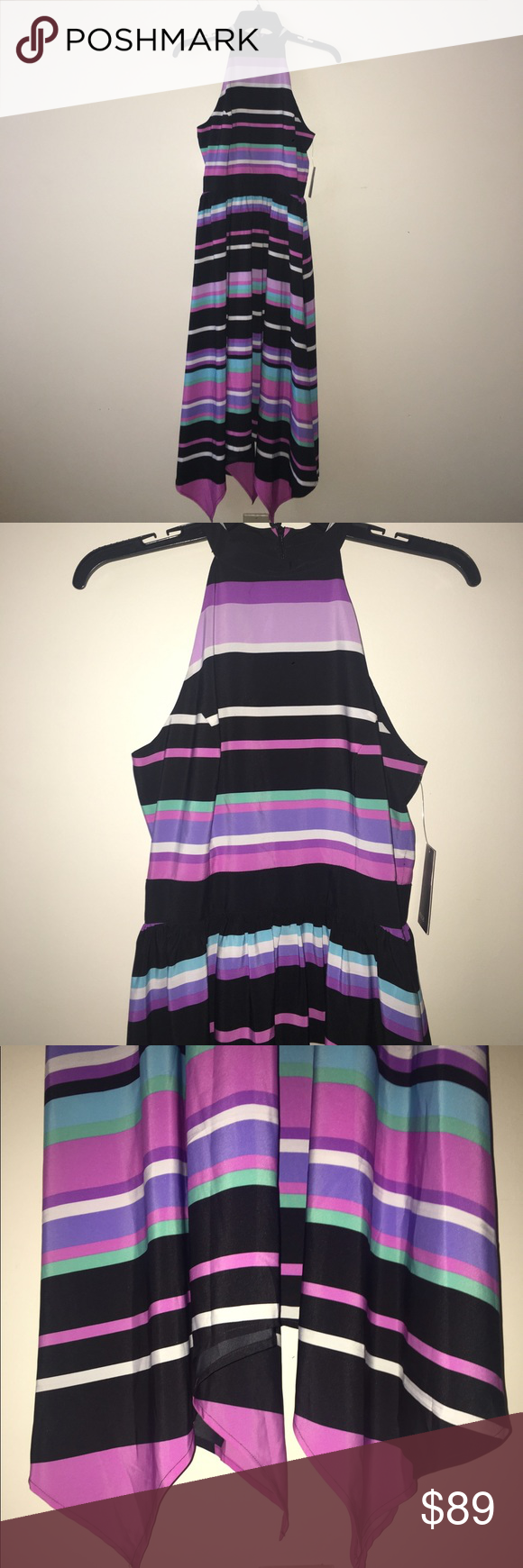 """*NWT* muse Striped Maxi Dress (2) High halter neckline with a princess seamed bodice. Fitted waist that falls into a softly-pleated flowy skirt with handkerchief details at the hem. Hidden back zip closure. Lightweight. Partially lined. 100% Polyester. Hand wash or Dry clean.  Approx. center back length is 40-48* inches (*measuring down the back center seam to hem is 40"""", plus 8"""" for scattered handkerchief detail)   SIZE:  2 (S) COLOR:  Purple Multi  *** NEW WITH TAG *** muse Dresses"""