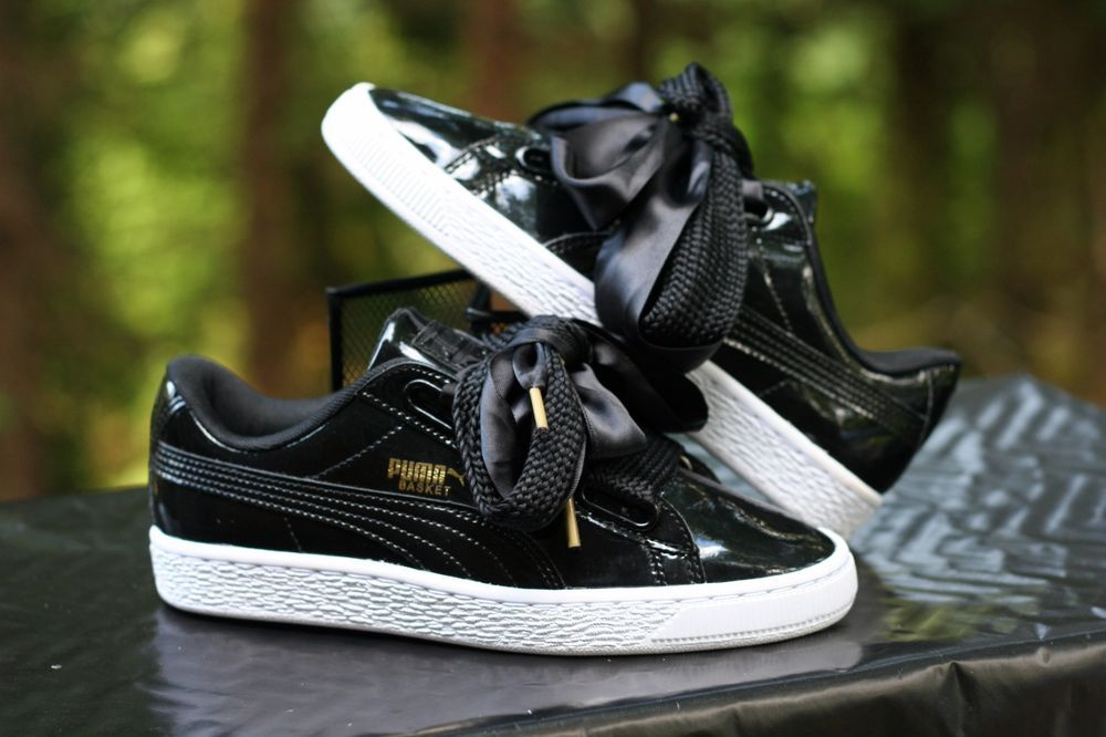 01cf47c3cc0 Puma Basket Heart Patent Women s Sneakers Bow Laces Black White Gold Size  5.5  PUMA  athletic