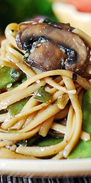 Spicy Asian Noodles with Mushrooms and Snow Peas – easy recipe to make Asian-style noodles at home. You don't need any complicated ingredients. This recipe uses basic ingredients to create tasty Asian meatless noodles at home. #Asian #recipe #noodles #Asiannoodles #mushrooms #mushroomnoodles #snowpeas
