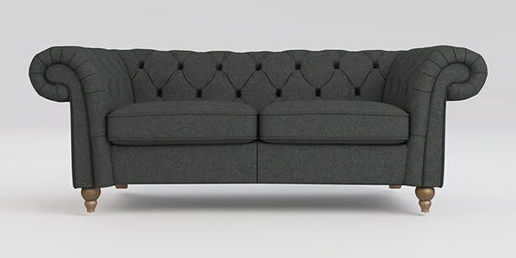 Buy Gosford Buttoned Small Sofa (2 Seats) Felty Plain Dark Grey Low Turned - Light from the Next UK online shop