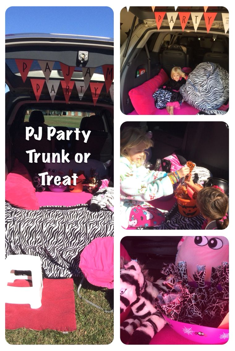 Our Trunk or Treat Pajama Party themed van. Back is filled with ...