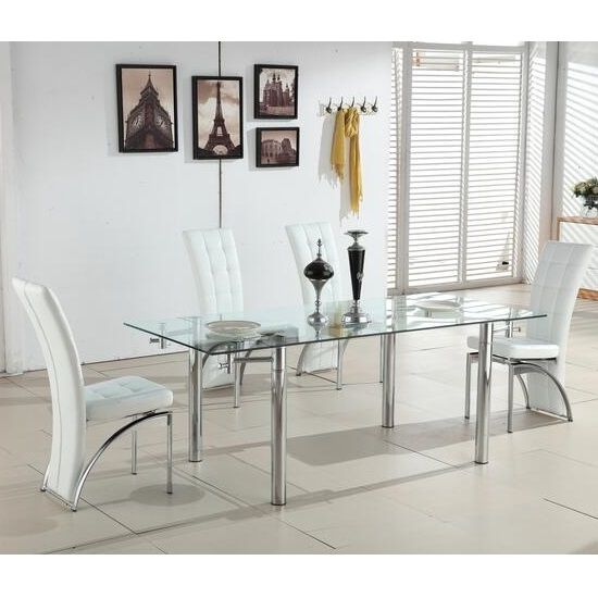Alicia Extending Dining Table In Clear Gl With Chrome And 6 Ravenna Chairs White Faux Leather Finish