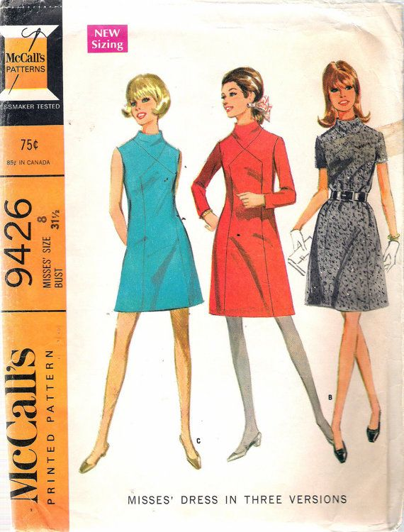 Vintage 1968 McCall\'s 9426 Mod Dress in Three Versions Sewing ...