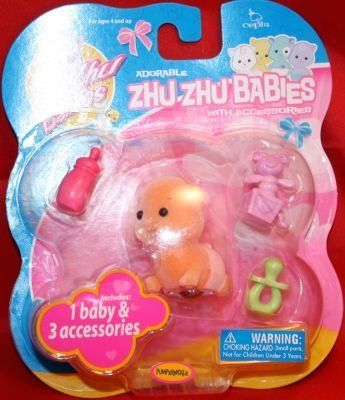 Zhu Zhu Baby - Pumpernickle - Orange Includes 1 Baby & 3 Accessories by Cepia LLC. $9.19. Like any good mommy, you can cradle, swaddle & shower your ZhuZhu Babies with tons of hugs & kisses.
