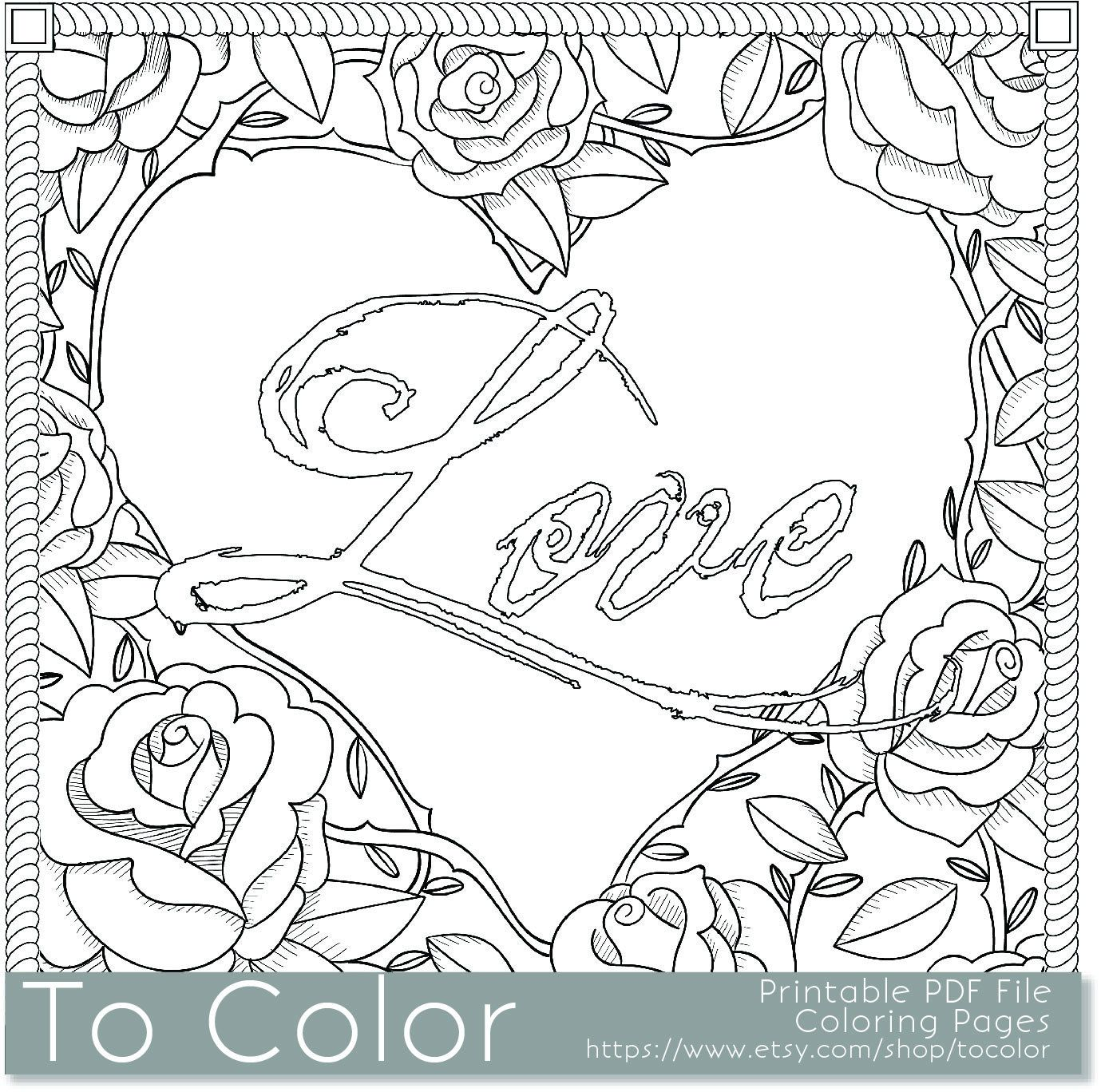 Printable Rose Frame Love Coloring Page For Adults PDF By ToColorADULT COLORING BOOK PAGESMore Pins Like This At FOSTERGINGER Pinterest