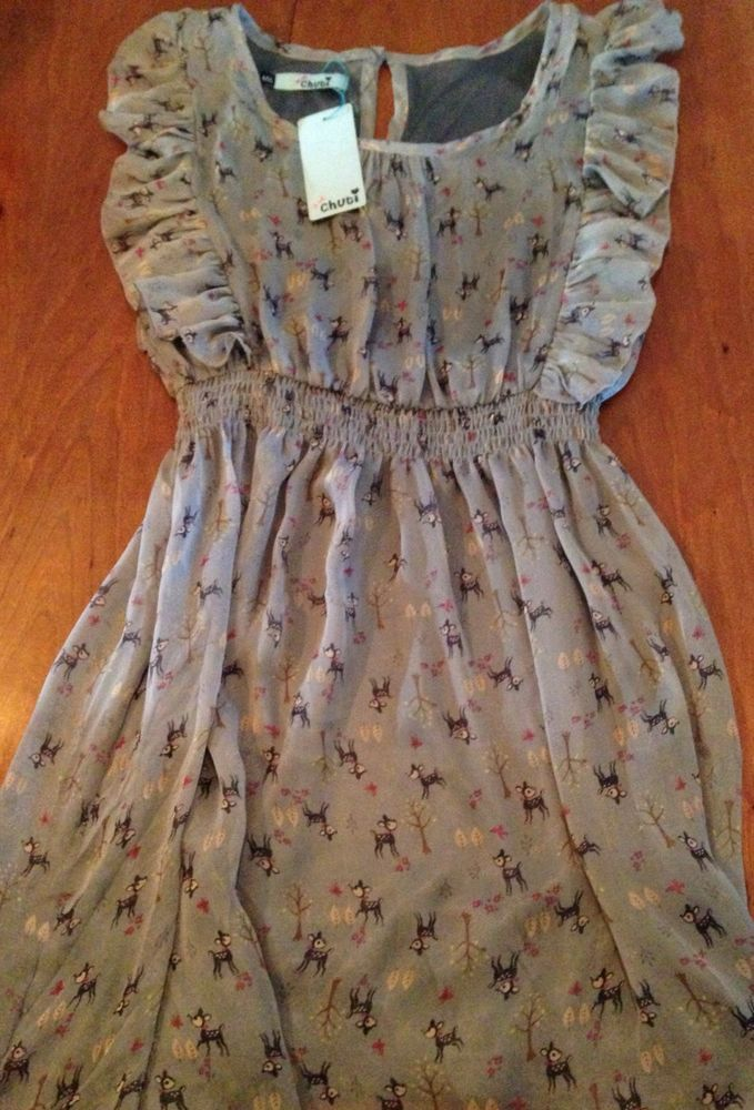 Adorable NWT ModCloth Ruffled Dress With Deer Doe Forest Pattern Chuti Brand #Chuti