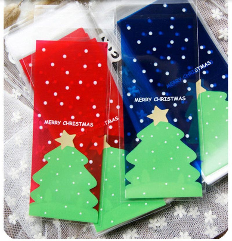 50pcs/lot Christmas cookies bags transparent red blue christmas tree