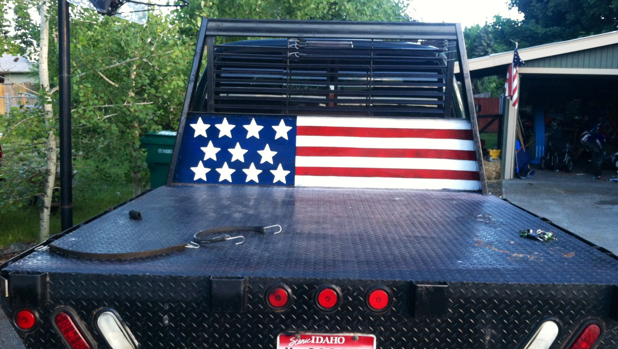 Flat bed. American flag. Hand painted. 12V Cummins.