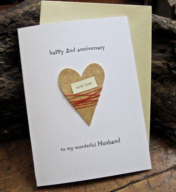 2nd Wedding Anniversary Keepsake Card Cotton Handmade Etsy Anniversary Cards Handmade 2nd Wedding Anniversary Wedding Anniversary Keepsake