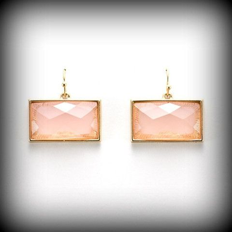 Rectangular Faceted Earrings in Gold/Pink Opaque Available at Boutique Belle Abeille www.boutiquebelleabeille.com
