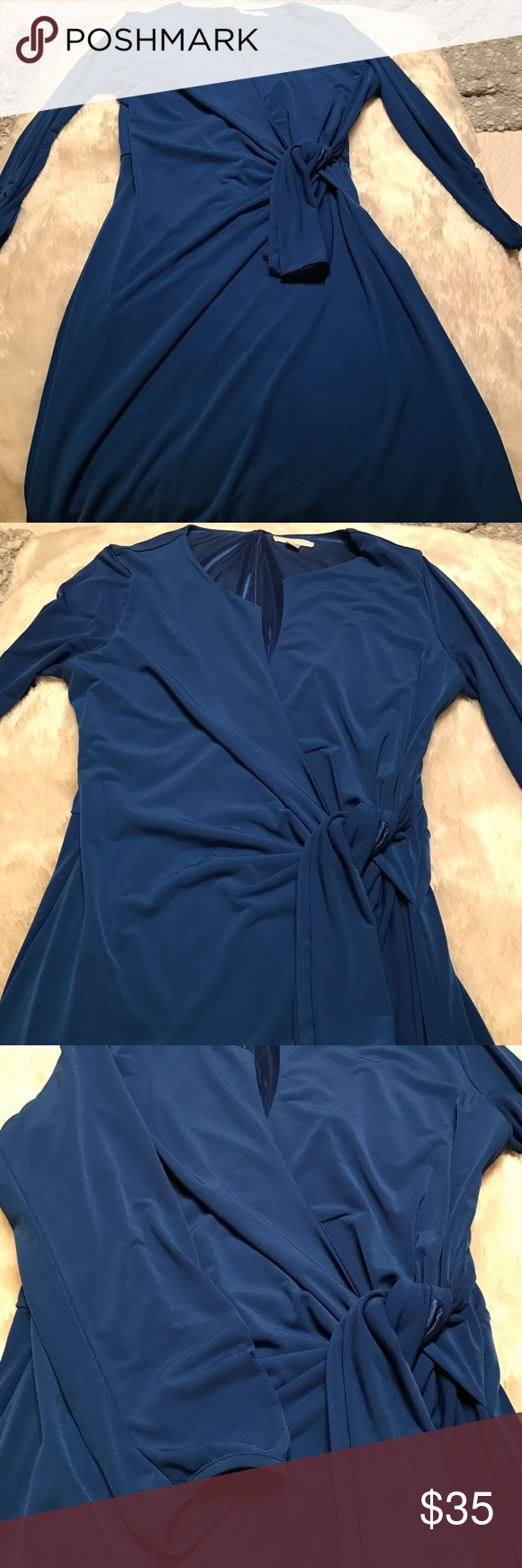 Worn for one wedding. Stretchy and sooo silky-feel Stretch Medium women's, lining polyester, 95% poly, 5% spandex dress. Royal blue. Form fitting, and so gorgeous! Wrap top style with wrap belt. New York & Company Dresses Midi