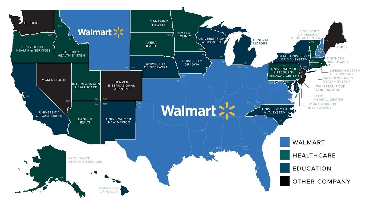 Americas Biggest Employers United States Map Us Map Infographic - Map-of-us-government