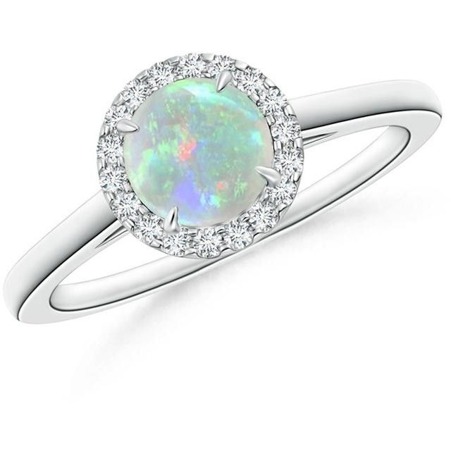 Angara Diamond Halo and Opal Engagement Ring in White Gold Hr5oUnZno