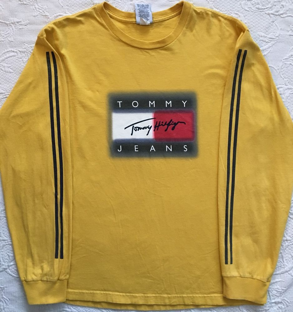 e1b632d4 Vintage Tommy Hilfiger Jeans Big Flag Box Logo T Shirt Signature Yellow SZ  Large | eBay