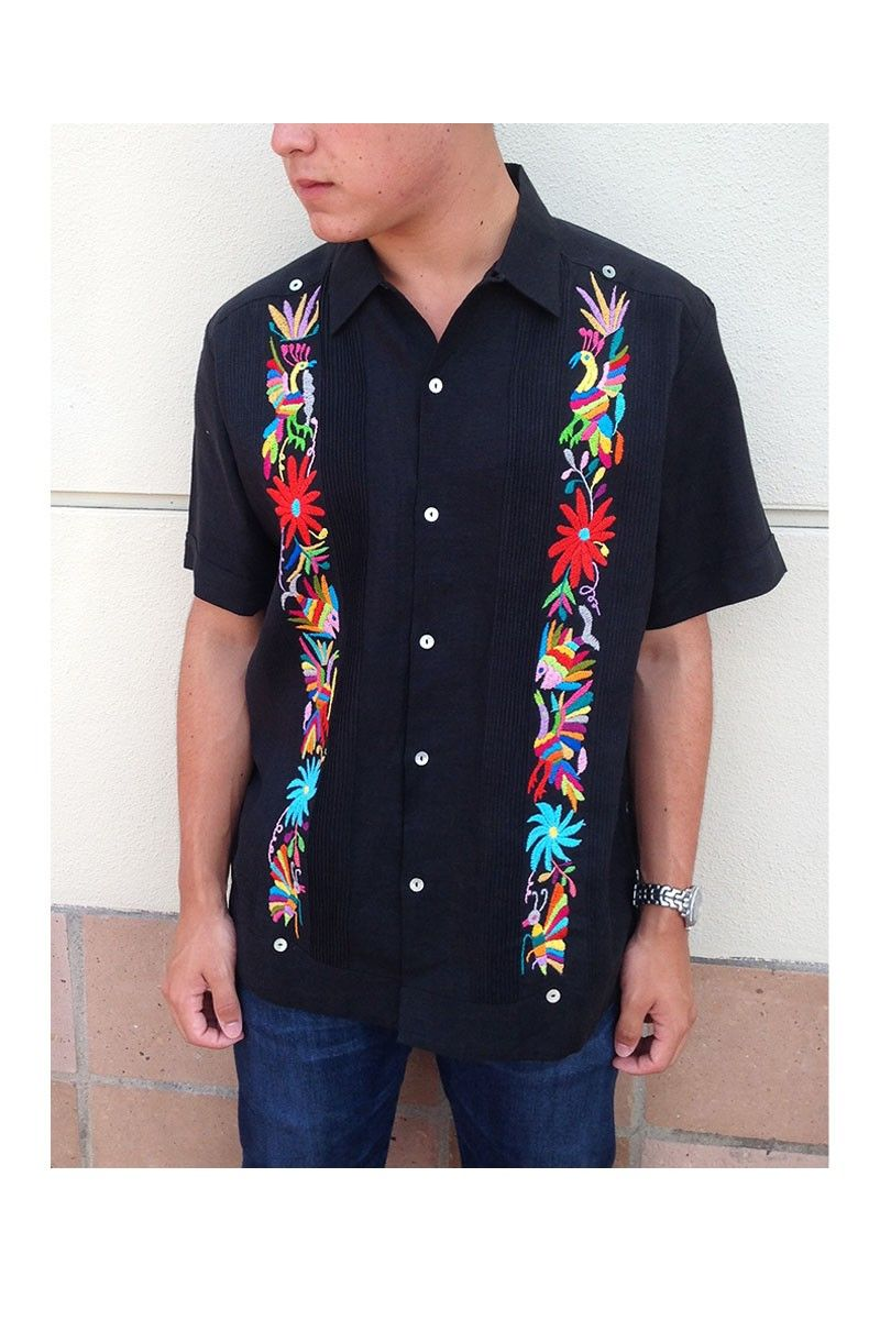 fc5cd759 $252.00 Guayabera with Otomi Embroidery- Black with Multi Color ...