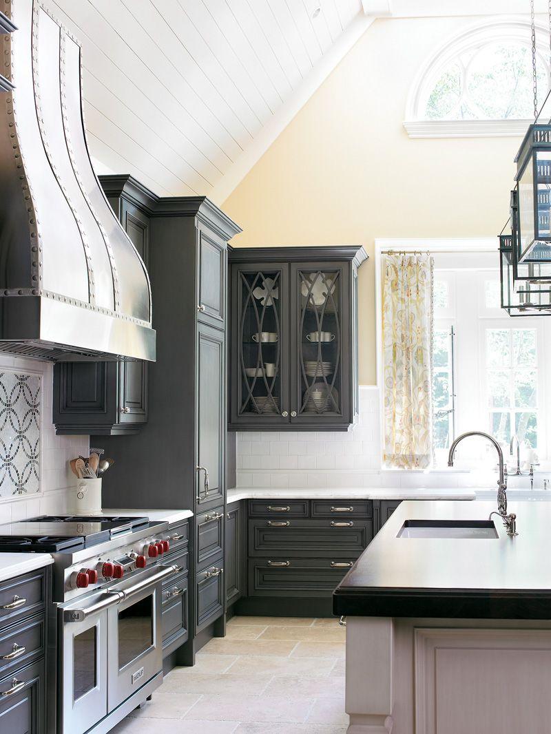 smokey gray kitchen with dramatic range hood and graphic picture frame backsplash grey on kitchen decor grey cabinets id=25188