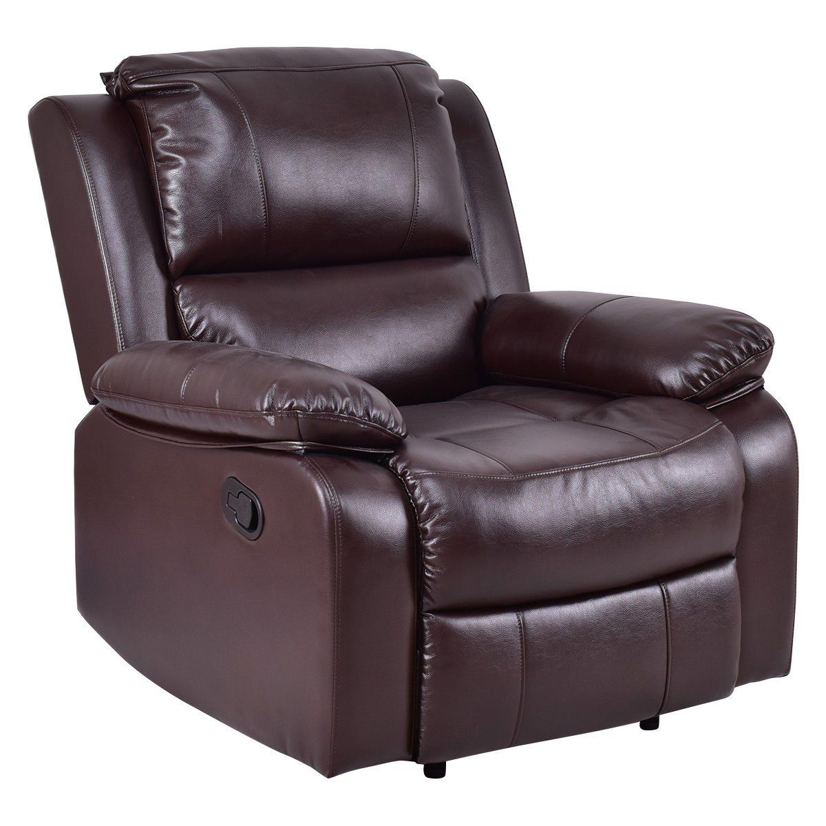 Giantex Recliner Sofa Chair Pu Leather Ergonomic Lounge Manual Padded Reclining Brown Want Extra Details Click In 2020 Reclining Sofa Lounge Chair Best Leather Sofa
