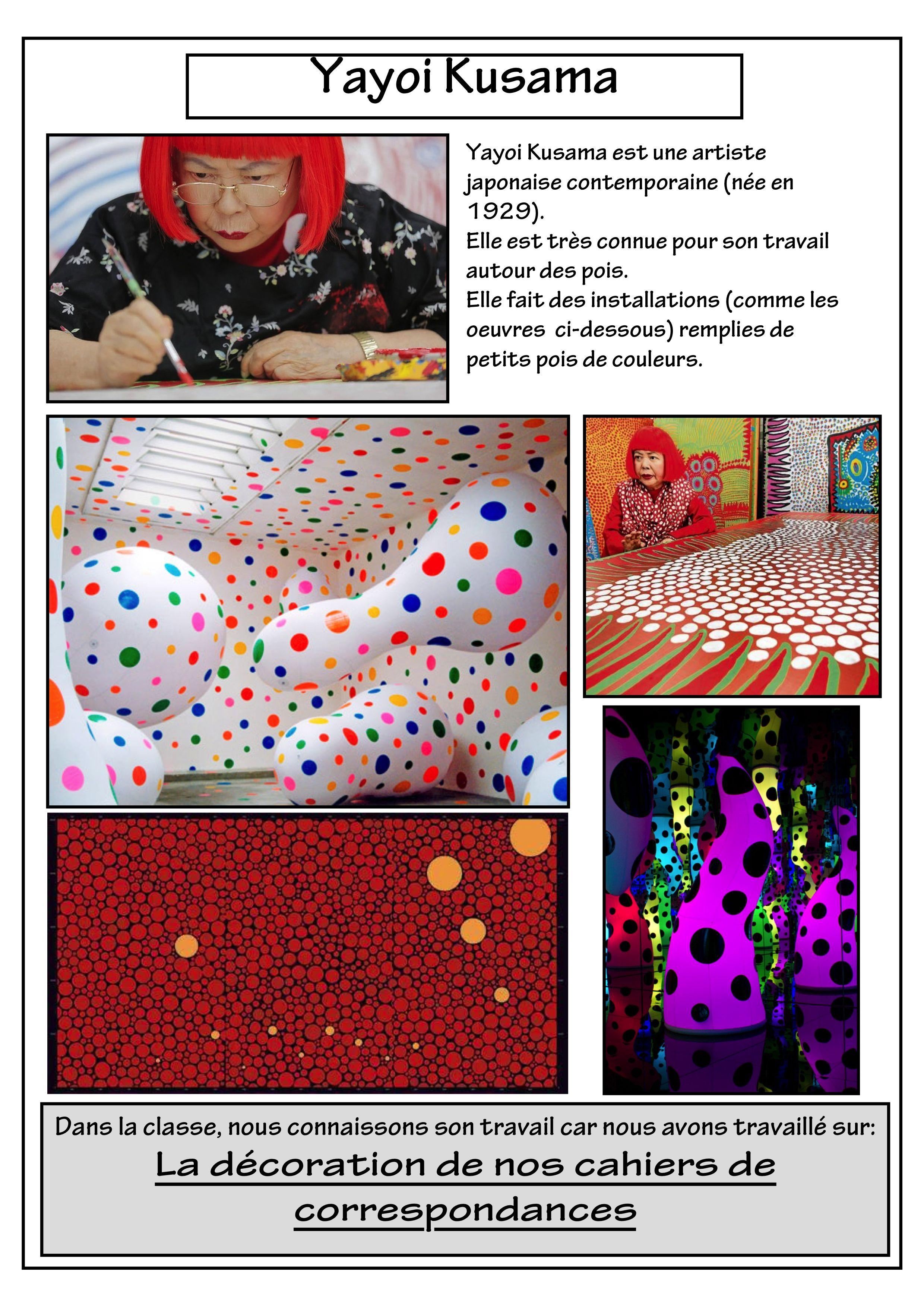 Fiche yayo kusama art visuel cole pinterest for Art et artiste