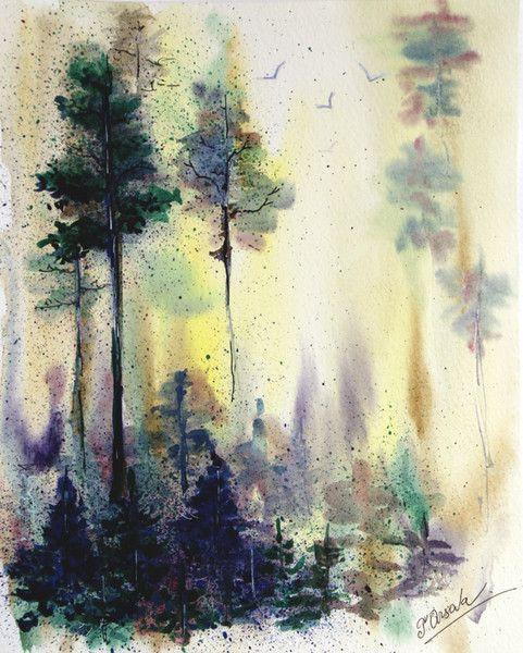 Aquarell Landschaft Originalgemalde Original Kunst Malerei Ein