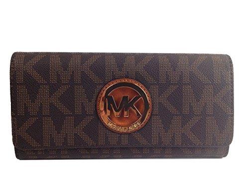 f63a19e72123 Michael Kors Signature PVC Fulton Flap Wallet in Brown BUY NOW $94.43 Michael  Kors Fulton Flap