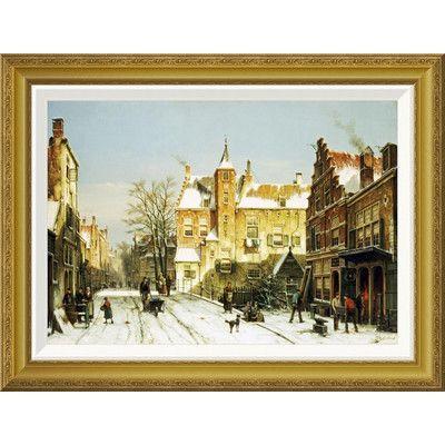 Global Gallery 'A Dutch Village In Winter' by Willem Koekkoek Framed Painting Print Size: