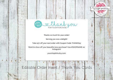 Knitting Business Order Insert - Crochet Business - Business Thank - business thank you card template