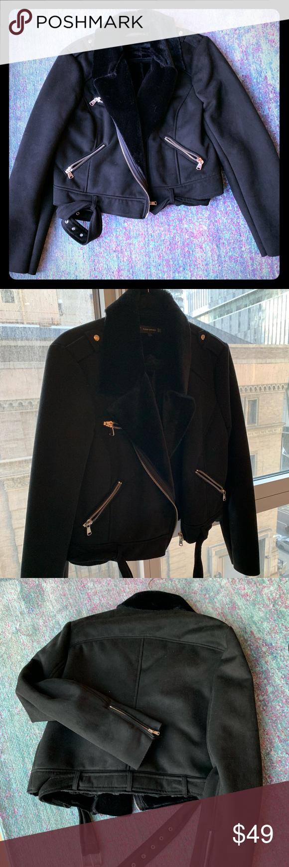 New Zara Motorcycle Moto Faux Fur Lined Jacket Line Jackets Zara Moto Style [ 1740 x 580 Pixel ]
