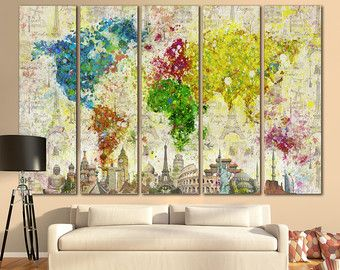 Detailed world map canvas print wall art 3 4 5 by ecreativeart detailed world map canvas print wall art 3 4 5 by ecreativeart gumiabroncs Choice Image