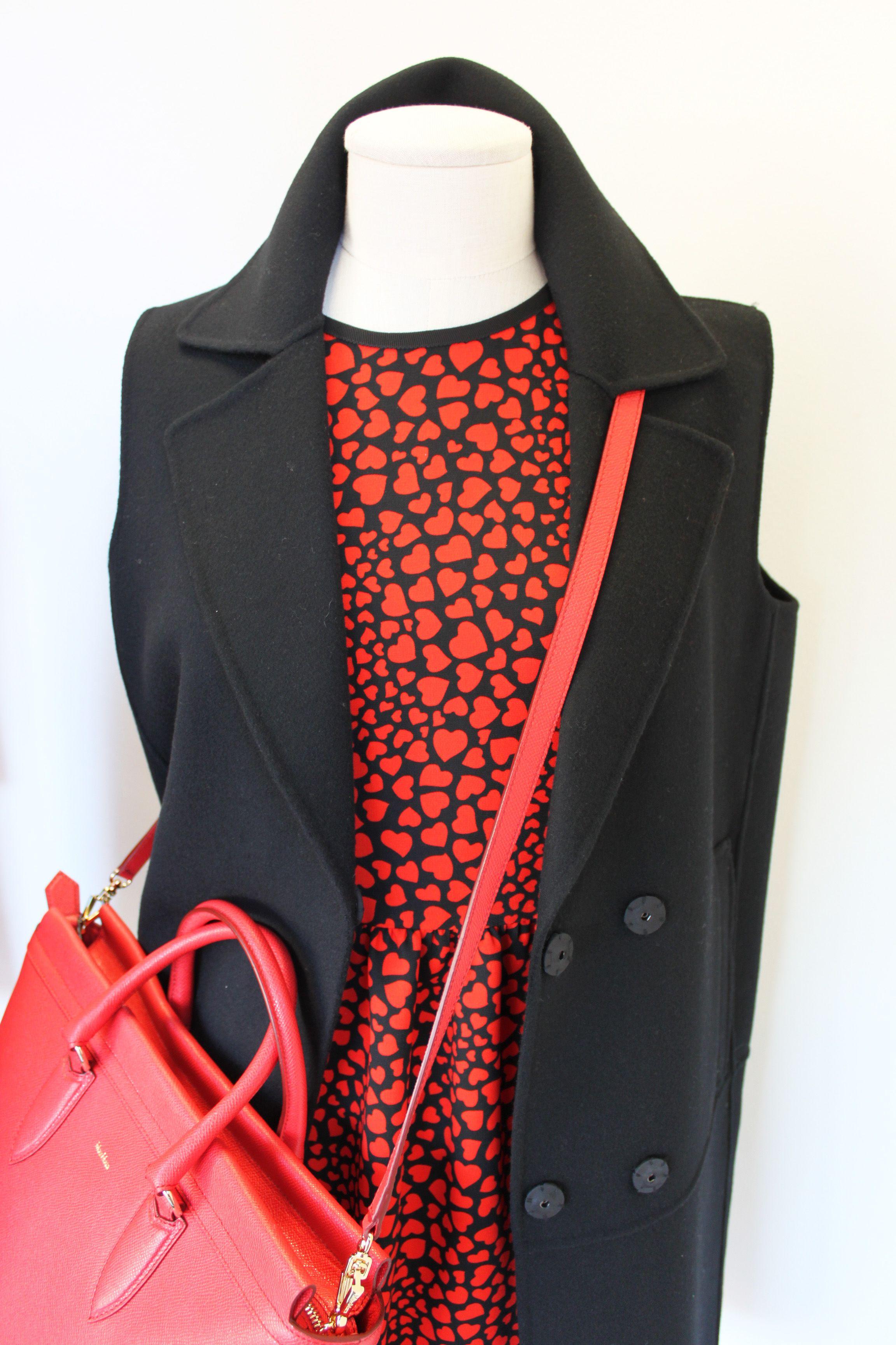 """Egle"" dress and ""Tenente"" gilet, Sportmax Code. Max Mara red leather bag."