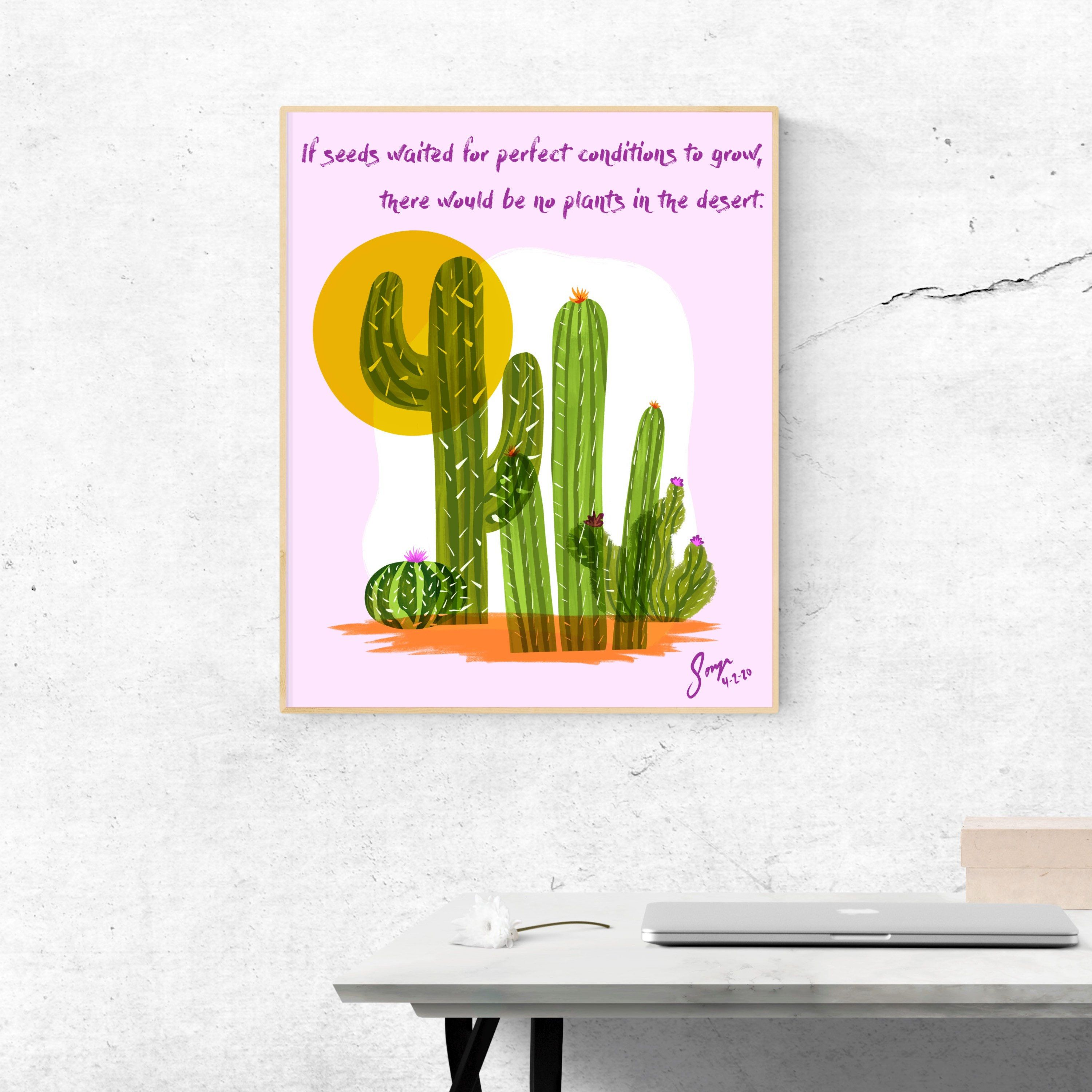 Cactus flower quote illustration etsy in 2020 flower
