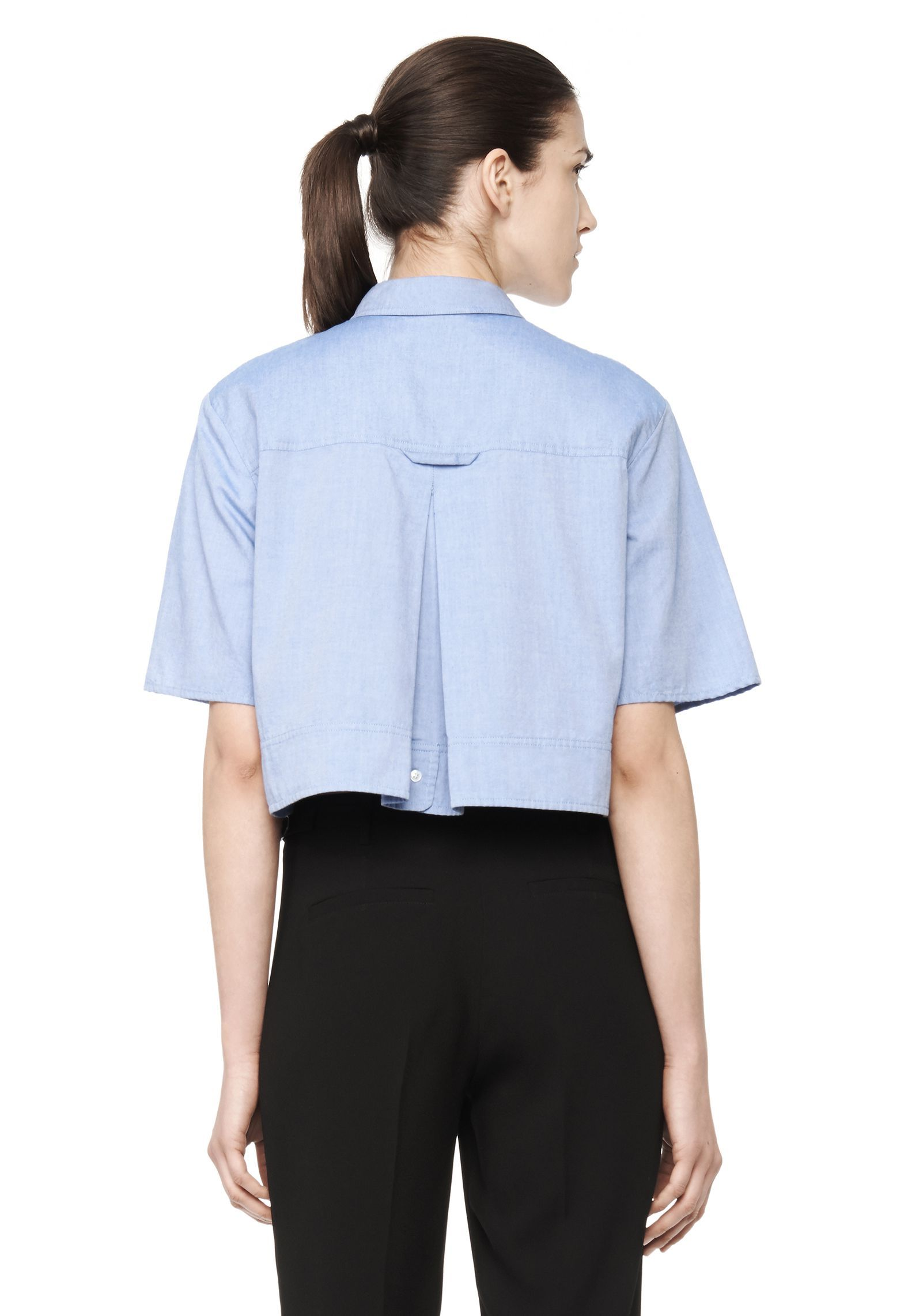 ca074a896249b CROPPED COLLARED OXFORD SHIRT - Women Tops - Alexander Wang Official Site