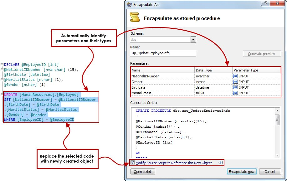 Encapsulate SQL - Convert blocks of SQL code into scalar or