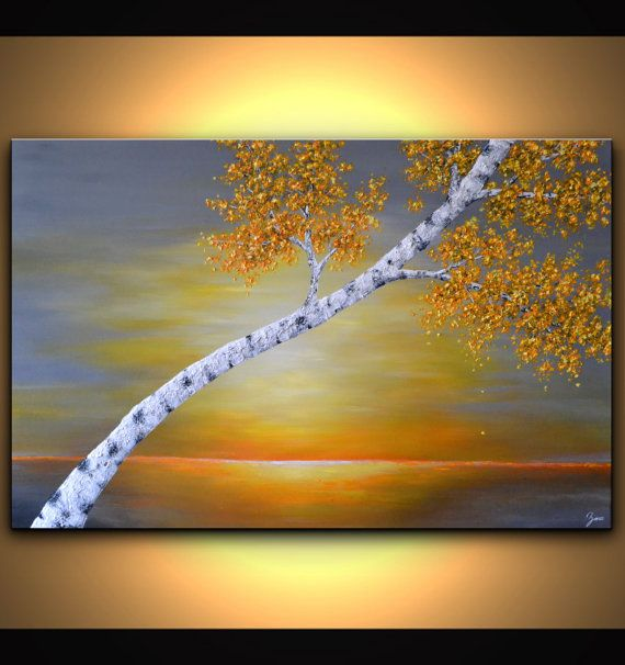 Abstract sunset canvas wall art birch tree painting by ZarasShop ...