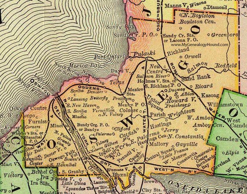 Map Of New York Oswego.Oswego County New York 1897 Map Rand Mcnally Fulton Mexico