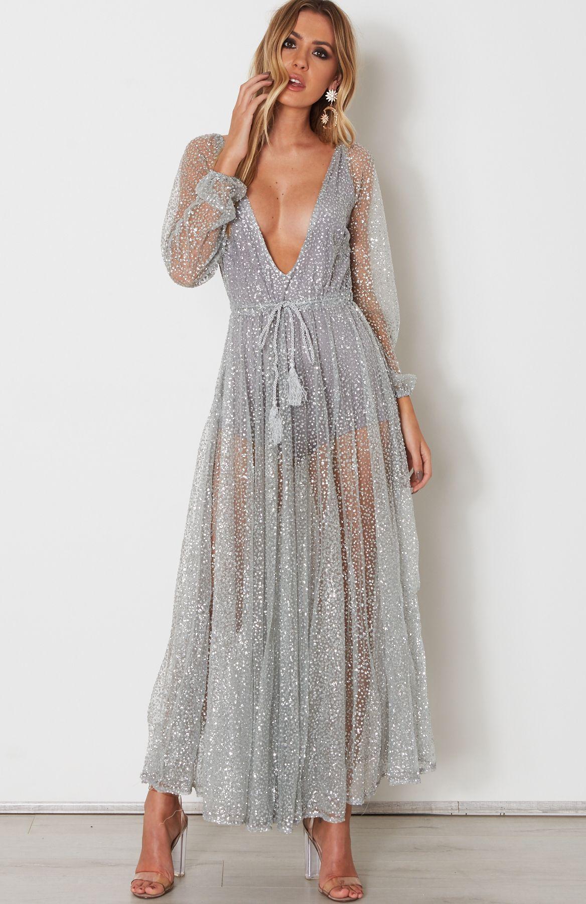 Lucky Star Glitter Gown Silver | Silver Lucky Star Glitter Gown in ...