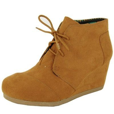 Olee-01 Lace Up Wedge Bootie