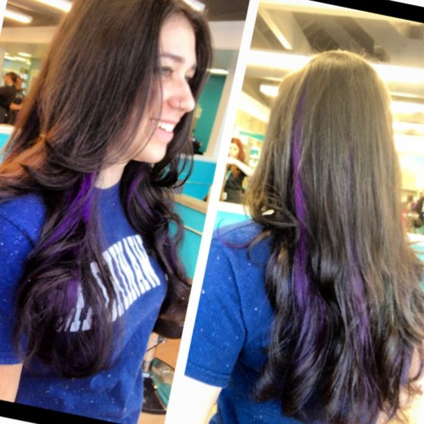 Purple peekaboos on long dark brown hair so fun love that hair purple peekaboos on long dark brown hair so fun pmusecretfo Image collections