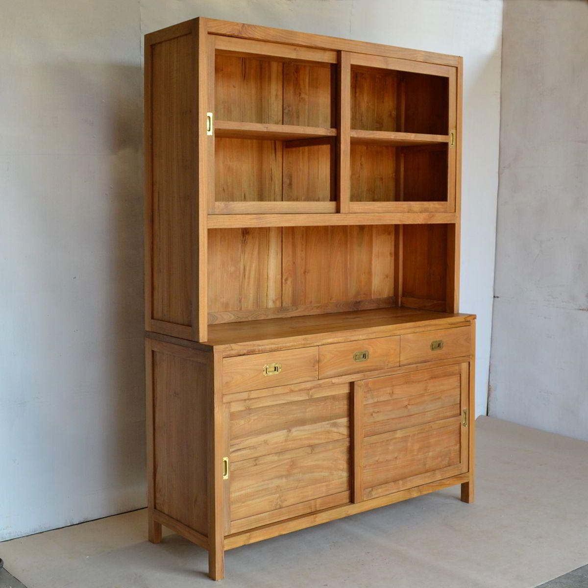 Lemari dapur pintu geser kayu jati | Lemari dapur, Kayu ...