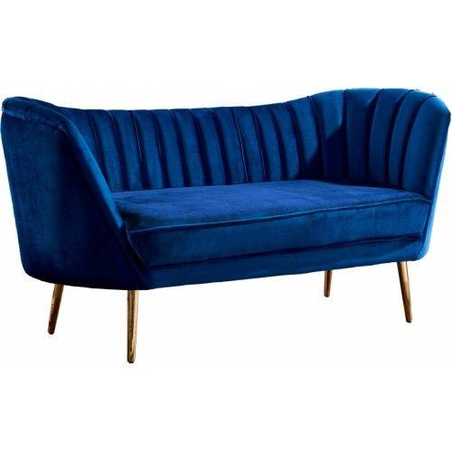 Royal Blue Velvet Chanel Tufted Loveseat Gold Legs Love Seat Velvet Loveseat Blue Loveseat