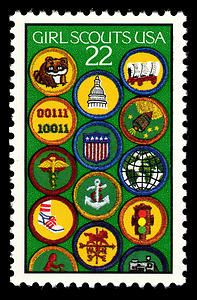 The 75th anniversary of the Girl Scouts became the subject of a commemorative stamp issued on March 12, 1987, in Washington, DC. The design features fourteen Girl Scout badges on a green background, the color of the sash on which they are worn.    Juliette Gordon Low founded the Girl Scouts in Savannah, Georgia, in 1912, having borrowed the concept from the Girl Guides movement in England.