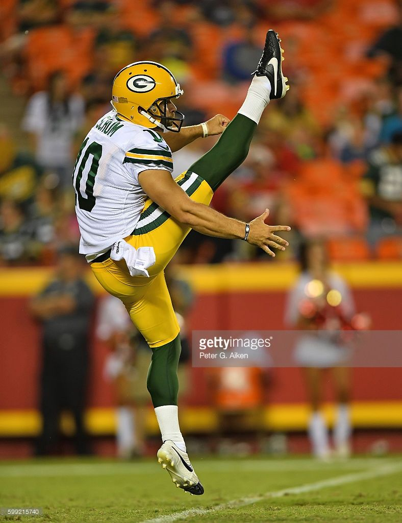 Punter Jacob Schum Of The Green Bay Packers Punts The Ball Down Field Green Bay Packers Green Bay Packers