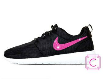 Women's Nike Roshe Two in Black and White with Pink Glitter Swoosh - Sparkle  - Bling
