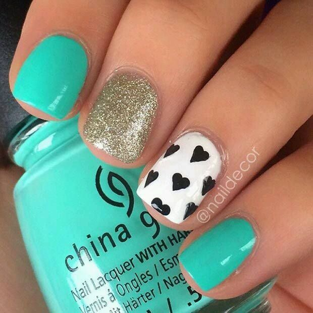 Pin by jessica harris on valentines nails pinterest makeup cute and girly turquoise nail art for short nails prinsesfo Choice Image