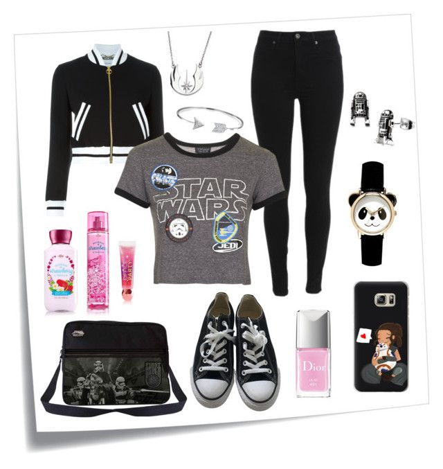 """""""casual outfit: star wars"""" by rey-the-scavenger ❤ liked on Polyvore featuring Post-It, Moschino, Bling Jewelry, Topshop, Converse, Christian Dior and Casetify"""