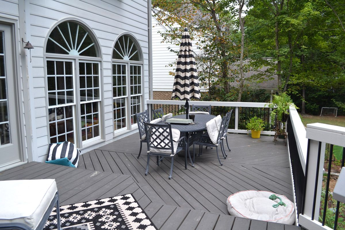 Gray Decking Is A Brilliant Color Choice For Your Raleigh Durham Deck Archadeck Outdoor Living In 2020 Deck Dining Area Building A Deck Deck Dining