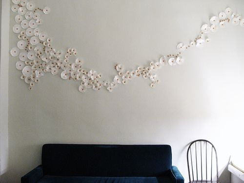 Interior Pretty Wall Decor wall art using thumbtacks and doilies super neat cheap idea