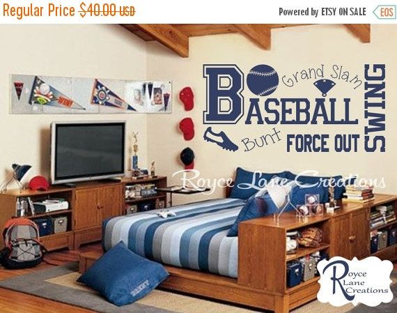 Baseball Wall Decal B13 Sports Vinyl Boys Room Teen Boy Decor Art